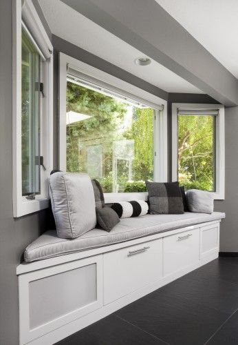 Bay window treatments and storage solutions north view - Window seat bay window ...